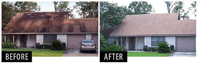 Before and After Roof Wash for UV Ray Damage